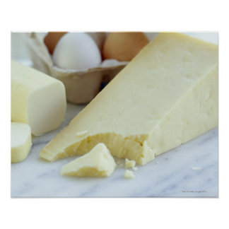 Cheeses and eggs. Eggs are rich in protein and Posters