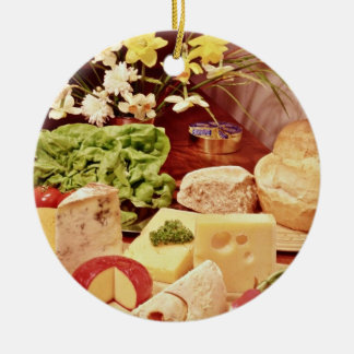 Cheeses, with radishes, lettuce, bread, and daffod christmas ornament