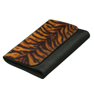 Cheetah Abstract Art Print, Black Leather Wallet