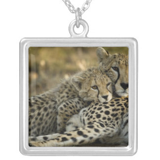 Cheetah, Acinonyx jubatus, with cub in the Masai 2 Silver Plated Necklace