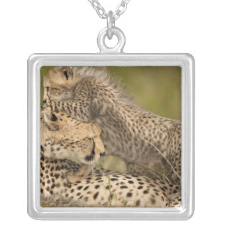 Cheetah, Acinonyx jubatus, with cub in the Masai 3 Silver Plated Necklace