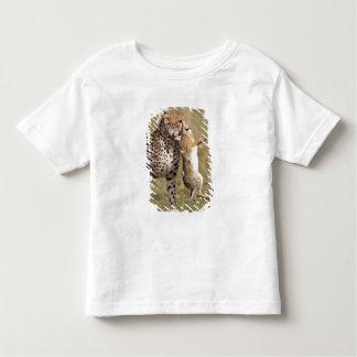 Cheetah (Acinonyx jubatus) with jackrabbit kill, T Shirt