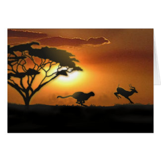 Cheetah and Gazelle greeting card