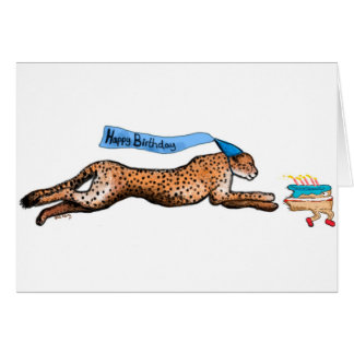 Cheetah And Runaway Cake Cartoon Birthday Card