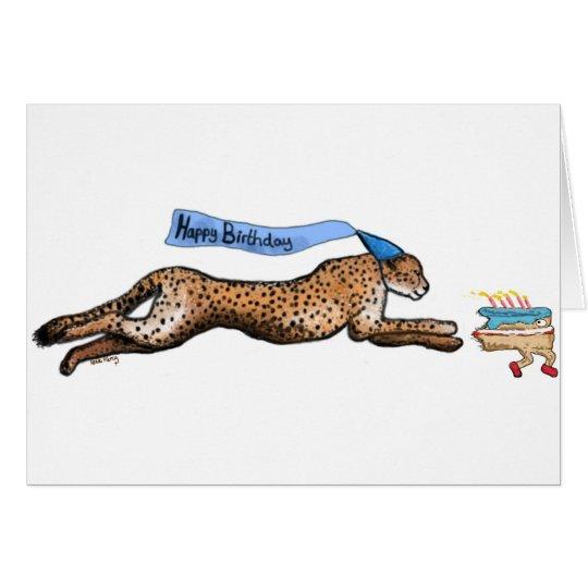 Cheetah And Runaway Cake Cartoon Birthday Card