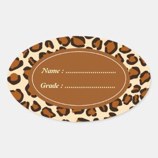 Cheetah animal brown pattern oval sticker