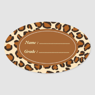 Cheetah animal brown pattern oval stickers