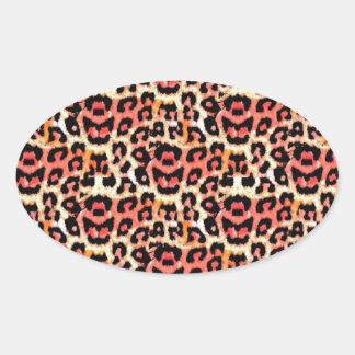 Cheetah Animal Print Oval Sticker