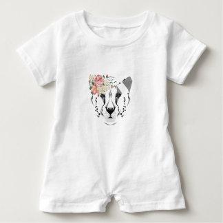 Cheetah Baby Romper Floral Art Baby Bodysuit