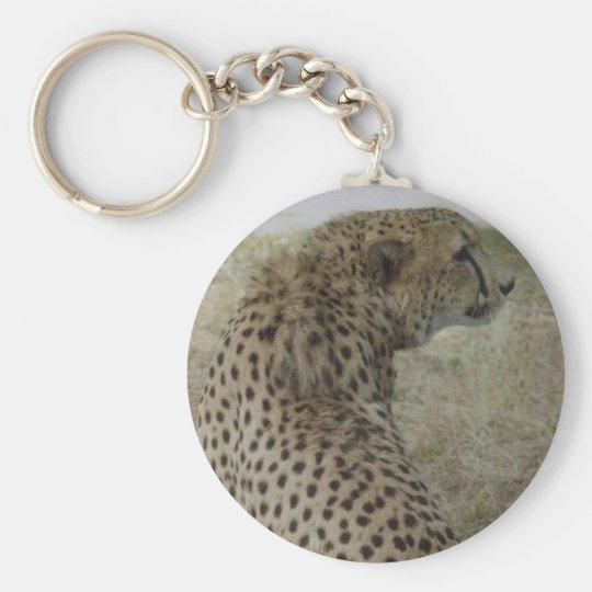 Cheetah Basic Round Button Key Ring