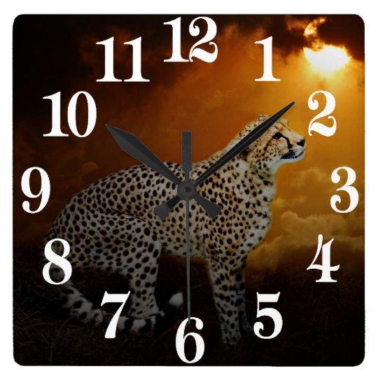 Cheetah beauty and sunset square wall clock