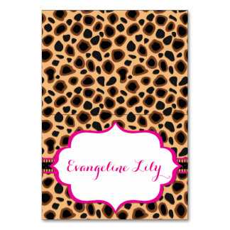 Cheetah Black and Hot Pink Tent Table Card