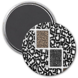 Cheetah Bling Abstract 7.5 Cm Round Magnet