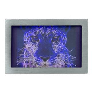 cheetah blue fractal design belt buckle