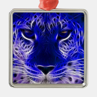 cheetah blue fractal design christmas ornament