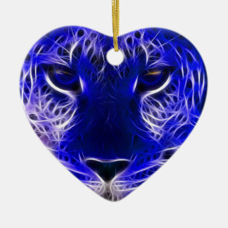 cheetah blue fractal design christmas ornament