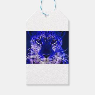cheetah blue fractal design gift tags