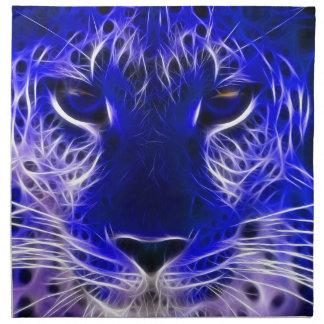 cheetah blue fractal design napkin