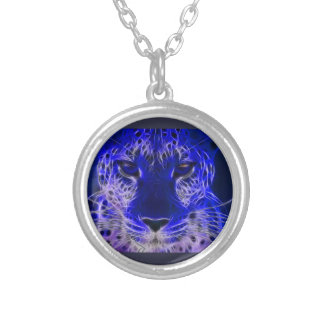 cheetah blue fractal design silver plated necklace