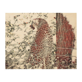 Cheetah by Tree, Japanese Art Effect