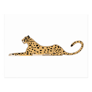 Cheetah Cat Lying Down from the Side Postcards