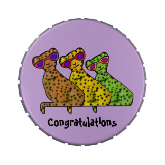 Cheetah Cats Congrats Candy Gift Candy Tins
