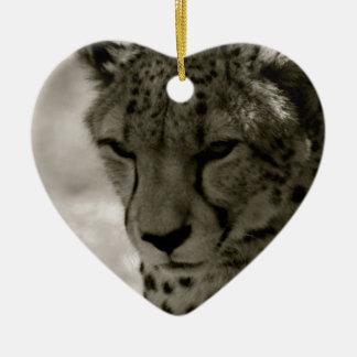 Cheetah Ceramic Heart Decoration