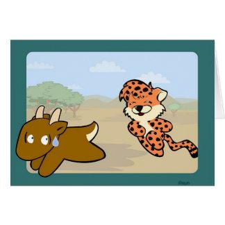 Cheetah Chasing Antelope Card