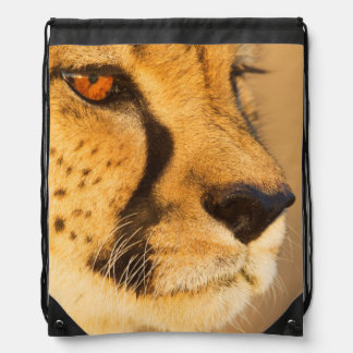 Cheetah Close-up of a female Drawstring Bag