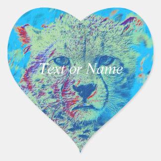 Cheetah colorful version heart sticker