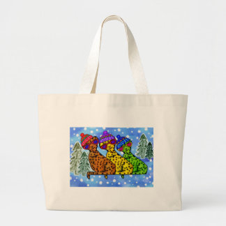 Cheetah Cool Cats Snow Day Canvas Tote