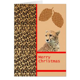 Cheetah Designer Christmas Card