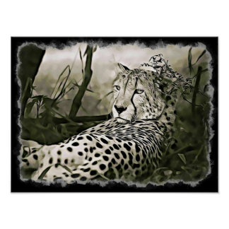 Cheetah  Digital Art Poster