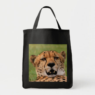 Cheetah Face- Black Grocery Tote