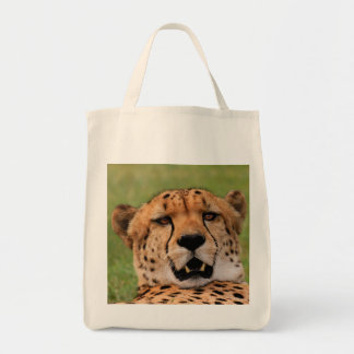 Cheetah Face Grocery Tote