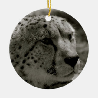 Cheetah face round ceramic decoration