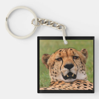 Cheetah Face - Square (single-sided) Keychain