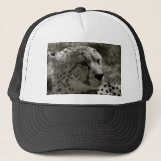 Cheetah face trucker hat