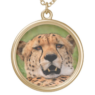 Cheetah Face with Gold Finish Round Necklace. Gold Plated Necklace