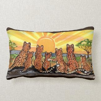 Cheetah Family Sunrise Bright Designer Pillow