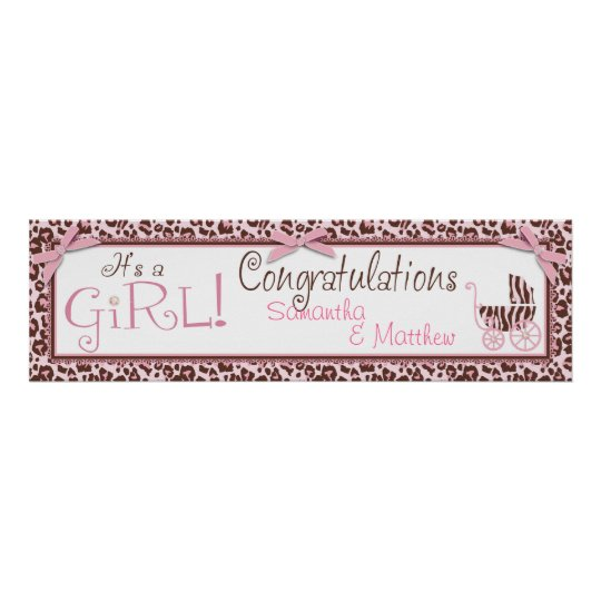 Cheetah Girl Party Banner Poster