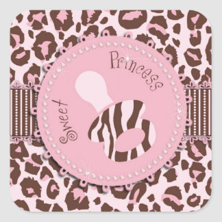 Cheetah Girl Square Sticker Pink 2