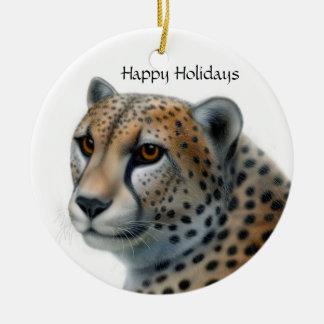 Cheetah, Happy Holidays Christmas Ornament