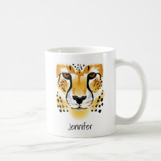 cheetah head close-up illustration coffee mug