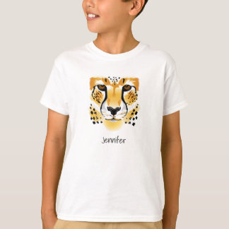 cheetah head close-up illustration kids T-Shirt