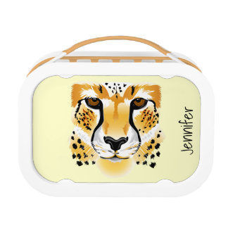 cheetah head close-up illustration lunch boxes