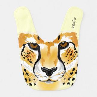 cheetah head close-up illustration name baby bib