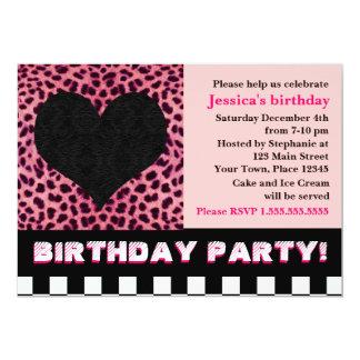 Cheetah Heart Birthday Party - Pink 13 Cm X 18 Cm Invitation Card
