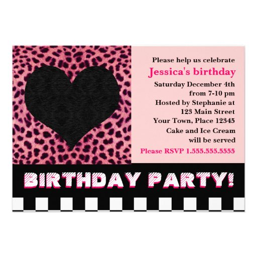 Cheetah Heart Birthday Party - Pink Personalized Invitations