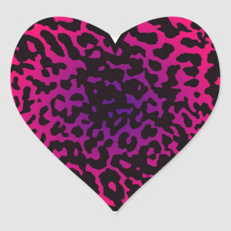 Cheetah Heart Pink Purple Heart Sticker